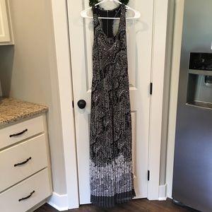Victoria's Secret Black Floral Pleated Maxi Dress